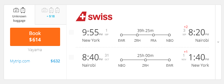 nyc to nbo